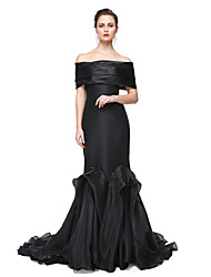 cheap -Mermaid / Trumpet Off Shoulder Sweep / Brush Train Stretch Satin Formal Evening / Black Tie Gala Dress with Pleats by TS Couture®