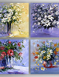 cheap -Hand-Painted Floral/Botanical Horizontal,Modern Four Panels Canvas Oil Painting For Home Decoration