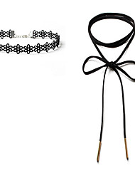 cheap -Women's Flower Lace Choker Necklace  -  Unique Design Dangling Style Classic Single Strand Black Necklace For Wedding Gift Daily