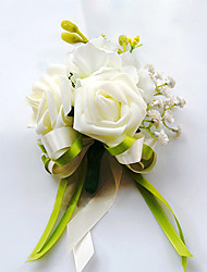 cheap -Wedding Flowers Free-form Roses Boutonnieres Wedding Party/ Evening Green Satin