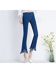 Sign spring Korean high waist retro black flash micro speakers wide leg denim pants female pantyhose