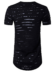 cheap -Men's Sports Active Cotton T-shirt - Solid Colored Cut Out Mesh Round Neck