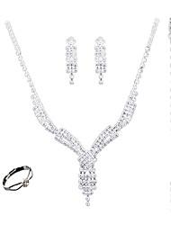 Set de Bijoux Mode euroaméricains Bijoux Blanc 1 Collier 1 Paire de Boucles d'Oreille 1 Bracelet Anneaux PourMariage Soirée Quotidien