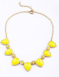 Women's Strands Necklaces Drop Chrome Unique Design Fashion Light Blue Yellow Jewelry For Wedding Congratulations 1pc