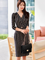 2016 new Women Korean fashion sexy V-neck striped belt temperament Slim package hip dress women