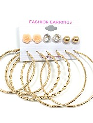 Dámské Peckové náušnice Náušnice - Kruhy Imitace perly Visací Multi-způsoby Wear Perly Slitina Kulatý Šperky Svatební Párty Denní Ležérní