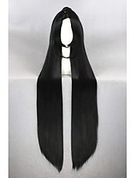 Недорогие -Искусственные волосы парики Прямой силуэт Прямой пробор С конским хвостом Парики для косплей Очень длинный Черный