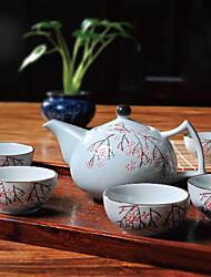 tè in porcellana ad alta temperatura giapponese prugna fiore dipinto a mano insieme con il POT (600ml) e cinque tazze (50 ml ciascuna)
