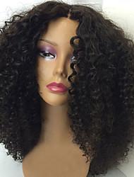 150% de la densité crépus bouclés cheveux vierge malaysian 10-26 pouces pleine perruques de dentelle perruque avant de dentelle de cheveux