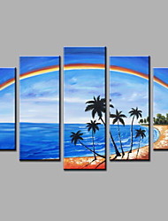cheap -Hand-Painted Rainbow Beach  Landscape Modern Five Panels Canvas Oil Painting For Home Decoration