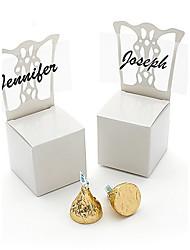 12pcs Bachelorette Party White / Aqua Blue Candy Favor Box 4.3 x 4.3 x 10.2 cm/pcs Beter Gifts® Wedding Party Supplies