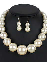 cheap -Women's Pearl Jewelry Set 1 Necklace / 1 Pair of Earrings - Euramerican Round Beige / Red / Dark Red Jewelry Set For Wedding / Party /