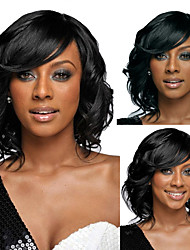 abordables -Pelucas sintéticas Ondulado Con flequillo Pelo sintético Negro Peluca Mujer Corta Sin Tapa