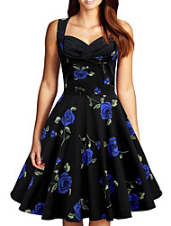Women's Party/ Evening Athletic Street chic Sophisticated Dress,Florals V-neck Knee-length Sleeveless Summer High Rise