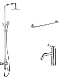 abordables -Moderno Bañera y ducha Ducha lluvia Alcachofa incluida Separado Válvula Cerámica 2 Orificios Dos asas de dos agujeros Níquel Cepillado,