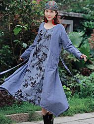 mujer&# 39; s 2017 primavera nacional departamento de viento de ancho de banda de cintura suelta tie-dye impresión costura vestido de