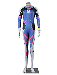 cheap -Inspired by Overwatch D.Va Video Game Cosplay Costumes Cosplay Suits Color Block White Blue Long Sleeve Leotard Gloves