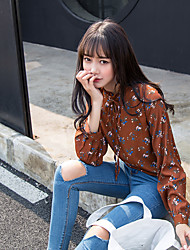 Sign chic South Korea-based leisure wild fungus floral lace collar long-sleeved shirt