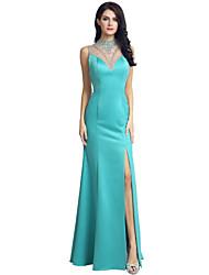 Trompete / Meerjungfrau Illusionsausschnitt Pinsel Schleppe Mattes Satin Formeller Abend Kleid mit Perlenstickerei durch Sarahbridal
