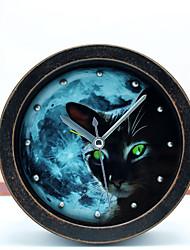 retro pastoralism antiken Stil Nacht Genie schwarze Katze Tischuhr Tischuhr Wecker 3d Metallniet Uhr silent