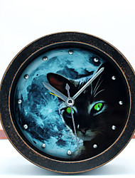 retro pastoralism estilo antigo noite gênio gato preto relógio de mesa relógio de mesa despertador do metal 3d relógio rebite silenciosa