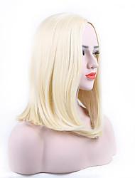 Donna Parrucche sintetiche Senza tappo Pantaloncini Lisci Biondo Caschetto fila in mezzo Taglio medio corto Parrucca naturale Parrucca di