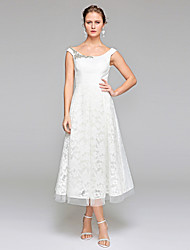 cheap -A-Line Scoop Neck Tea Length Lace Wedding Dress with Beading Draped by LAN TING BRIDE®