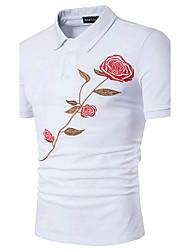 Недорогие -Для мужчин На выход Нарядная Лето Polo Рубашечный воротник,Простое Активный Вышивка С короткими рукавами,Хлопок,Средняя
