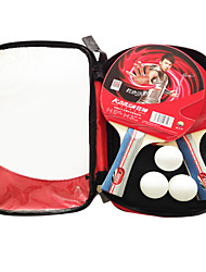 3 Stelle Ping-pong Racchette Ping Pang Gomma Manopola  lunga Raw gomma 2 Racchetta 3 Palline da ping pong