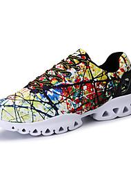 Da uomo-scarpe da ginnastica-Tempo libero Casual Sportivo-Comoda Suole leggere pattini delle coppie-Piatto-Tessuto-Bianco/nero