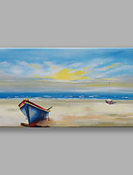 cheap -IARTS Hand Painted Modern Abstract Landscape Painting The Boat Stop in The Seabeach For Home Decoration