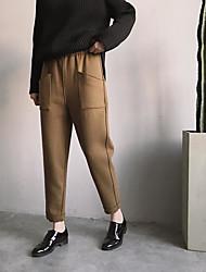 Spot ~ dimensionale versione coreana del taglio della spina lato elastico in vita pigri pantaloni harem casuale femminile di lana