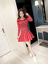 2016 new Korean short-sleeved round neck striped knit dress long section of College Wind Princess tutu