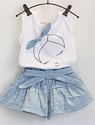 cheap -Girls' Daily Plaid Patchwork Clothing Set, Rayon Summer Sleeveless Cartoon Check Bow White