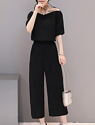 cheap -Women's Party Daily Work Casual Sexy Street chic Summer Shirt Pant Suits,Solid Off Shoulder Short Sleeve Acrylic