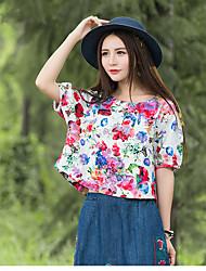 nuove donne&# 39; s tessuti di stampa girocollo T-shirt di cotone nazionale del vento