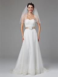 economico -Linea-A A cuore Lungo Di pizzo Tulle Vestito da sposa con Con fiocco di LAN TING BRIDE®