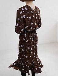 17 início da primavera famoso chic doce floral rendas flounced vestido de mangas compridas v-pescoço