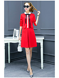 2017 new spring was thin dress tutu skirt bottoming autumn and winter red long-sleeved dress a word