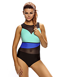 Women's Sporty Look Stylish Colorblock Mesh Insert One Piece Swimsuit