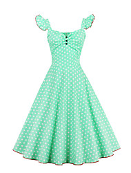 cheap -Women's Daily Going out Vintage Casual A Line Sheath Dress,Polka Dot Strap Knee-length Sleeveless Cotton Spring Fall Mid Rise