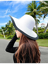 Women's Fashion Straw Hat Sun Hat Wide Brim Cap Cute Casual Color Block Beach Summer White/Black