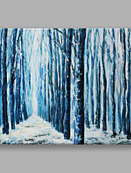 cheap -IARTS Hand Painted Modern Abstract Landscape Painting Blue Woods Wall Art For Home Decor