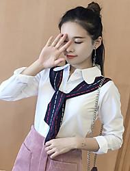 Model real shot Korean women's spring 2017 Korean loose stitching long-sleeved white silk shirt tide