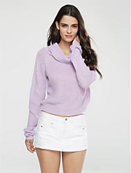 cheap -Women's Street chic Long Sleeve Pullover - Solid Colored Turtleneck