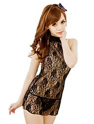 Sexy Transparent Lingerie Women Lace Siamese Cheongsam Dress