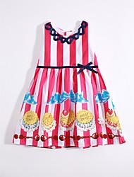 cheap -Girl's Daily Striped Color Block Dress, Cotton Linen Summer Sleeveless Stripes Fuchsia