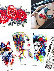 5 Pieces Beauty Women Men Makeup Temporary Tattoo Sticker Colored Drawing Indian Body Arm Waist Art