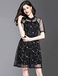 baratos -Mulheres Tamanhos Grandes Festa / Para Noite Moda de Rua Rendas Vestido - Renda / Pregueado / Com Transparência, Bordado Colarinho Chinês