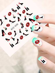 10pcs/set Fashion Nail Art Water Transfer Decals Fashion High Heels Shoes Charming Red Lipstick Design Nail Art DIY Beauty Sticker STZ-035